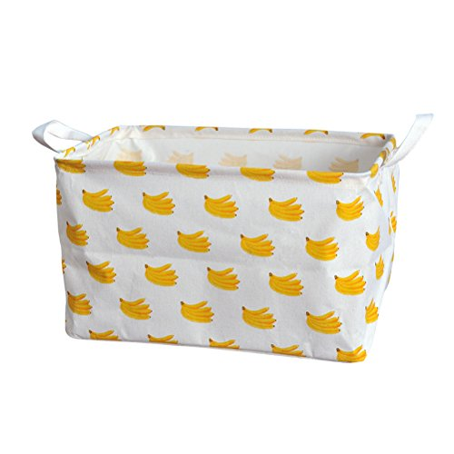 Fieans Collapsible Rectangular Storage Bins Fruits Style Universal Storage Basket Organizer for Home Office Closet Nursery - Yellow