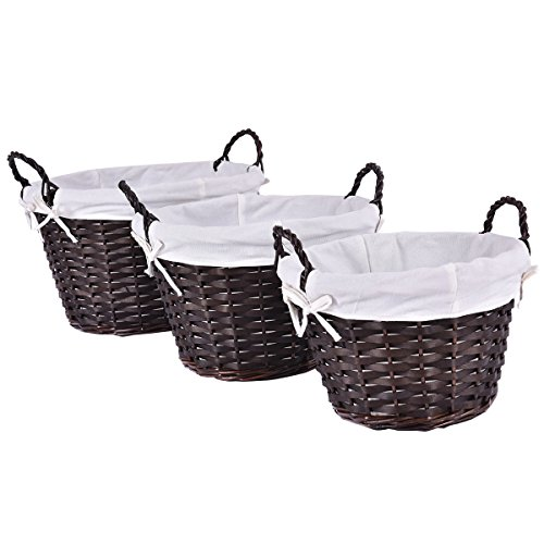 Giantex Set of 3 Hand-woven Willow Wicker Storage Basket With White Lining Round