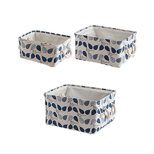 Lightweight No-Lidded Storage Bins Chests Storage Boxes Storage Baskets Container Portable Cloth Foldable Stackable Robust Wardrobe Organiser Cube Clothing Sundries Home -Pack of 3 MUMUJIN