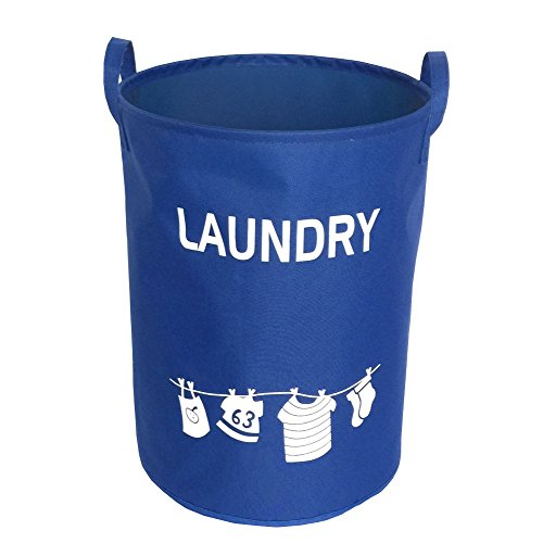 Hflove Folding Large Thick Laundry Basket Waterproof Oxford Cloth Storage Basket Dirty Clothes Laundry Basket Blue