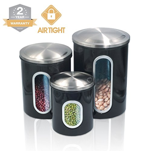 Kitchen Food Storage Canister Set - For Ideahome Stainless Steel Organization Canisters Set of 3 Containers with Airtight Lid Great for Home Kitchen Counter Storage and Decor