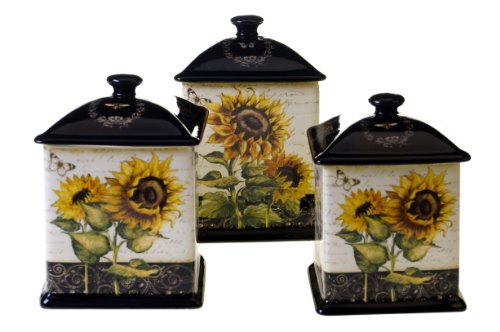 Certified International French Sunflowers 3-Piece Canister Set 56-Ounce 60-Ounce and 96-Ounce