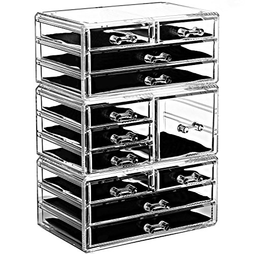 Ikee Design Acrylic Jewelry and Makeup Organizer Storage Drawer Three Pieces Set 7 Small 1 Square and 4 Large Drawers