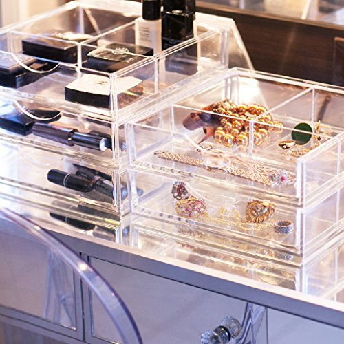 Boxy Girl Clear Makeup Storage Triple Stack Without Lid 100 Lucite Cube