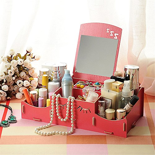 Saumota Lovely Removable Desktop DIY Wood Makeup Organizer Cosmetic Storage Containers With Mirorr-Red