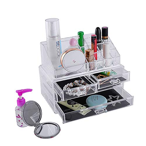 Makeup Cosmetic OrganizerProfessional Makeup Display Case Transparent Acrlic Makeup Storage With Drawers Clear Cosmestic Rack Storage Holder For Lipstick Brushes Bottles Jewelry