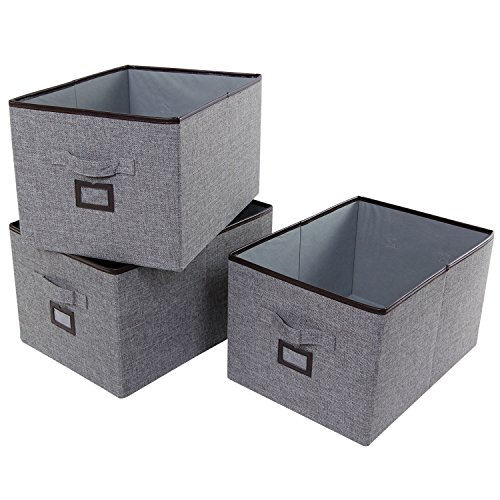 Lifewit Foldable Storage Bins with Labels Polyester Cloth Storage Boxs Drawer Basket Bin Closet Organizer Clothes Toys Cubical Organizer Containers 3-Pack