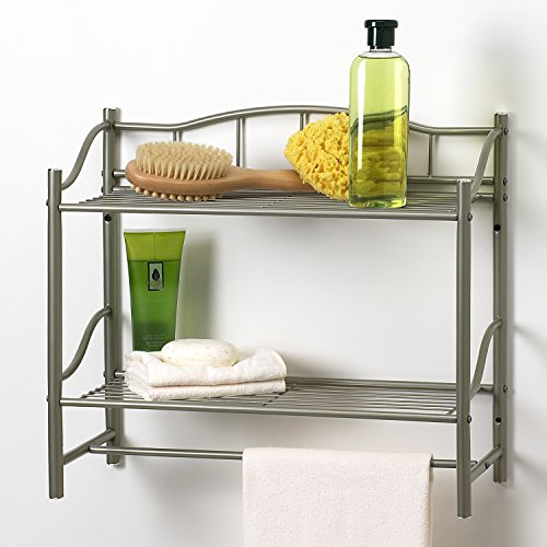 Creative Bath Products Complete Collection 2 Shelf Wall Organizer with Towel Bar Satin Nickel