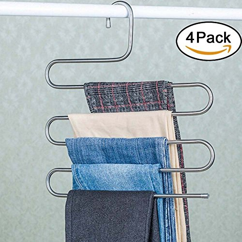 Genenic 4Pcs Multi-Purpose S-type Metal Pants HangersCloset Storage for Jeans Trousers Space Saver Storage Rack 14x03x15inchs