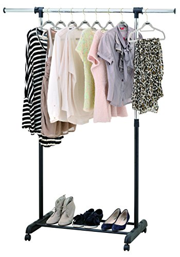 Finnhomy Single Rail Adjustable Height Width Garment Rack with Casters Wheels Storage Shelf Foldable Freestanding Simple Mobile Portable Rolling Hanging Rack for Indoor Outdoor Bedroom Black Chrome