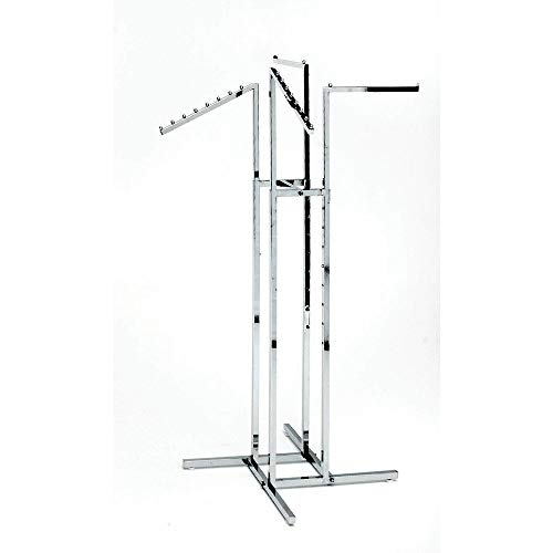 Clothing Rack - Heavy Duty Chrome 4 Way Rack Adjustable Arms Square Tubing Perfect for Clothing Store Display With 2 Straight Arms and 2 Slanted Arms Takes Up Only 32 Inches of Floor Space