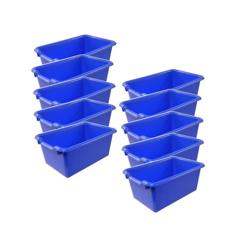 ECR4Kids Scoop Front Storage Bins Blue 10-Pack