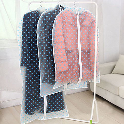 NPLE--Dotted Waterproof Jacket Garment Dust-proof Clothes Cover Suit Dress Storage Bag 60137cm Blue