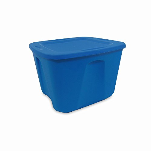 Homz Plastic Storage Tote with Lid 10 Gallon Blue Stackable 5-Pack