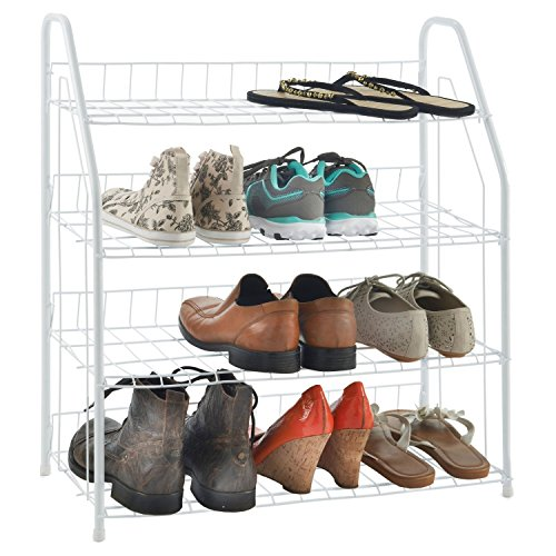 Ethels Home's Metal Wire Durable Stable Versatile Multi Functional 4 Tier Shoe Rack - Fits Neatly in Closet Bathroom Laundry room or Garage - Keeps Your House Shoes Organized Save Space White
