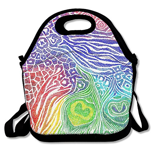 Fashionable Neoprene Reusable Insulated Lunch Tote Colorful Animal Leopard Printed Picnic Tote Containers For Women Teens With Shoulder Strap For Outdoor