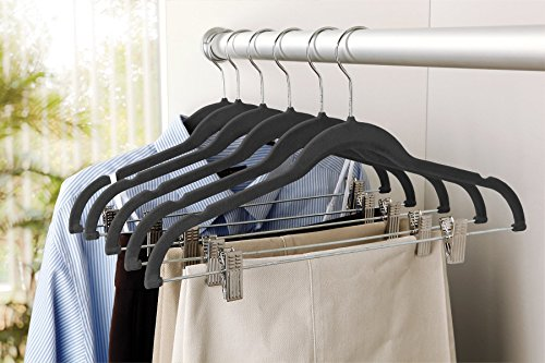 Karen Rhodes Black 6 Pack Velvet Suit Hanger with Metal Clips