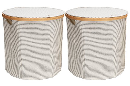 StorageWorks Cotton Cylindric Pop-up Storage Basket Foldable Hamper Organizer White with Black Stripe Medium 2-Pack