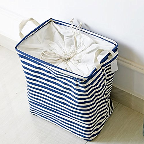 Bathroom Folding Storage Bins With Lids Archival Storage Boxes For Clothes Toy Boxes or Chests for Boys and Girls Laundry Basket Shelf Baskets Blue stripes
