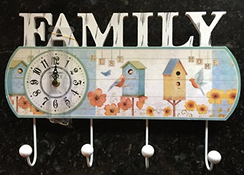 Family Wood Wall Clothes Hanger with bo Clock