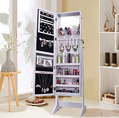 Shelving Solutions Jewelry Cabinet Armoire Mirrored Jewelry Armoire with Stand White