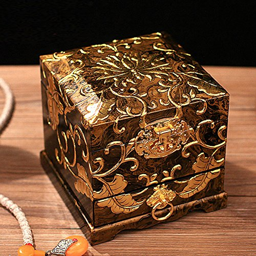 paint quality jewelry boxWooden three-tier ornament storage box Chinese-style wedding dress boxes-A