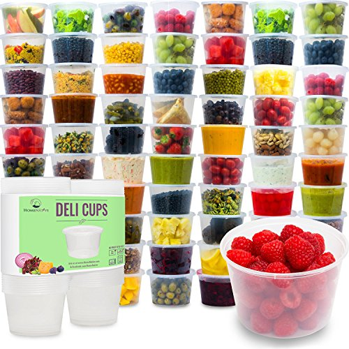 Plastic Food Storage Containers with Lids - Restaurant Deli Cups  Foodsavers Baby Portion Control - Kids Lunch Boxes - Watertight  Leakproof Takeout Set 152oz 50pcs