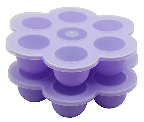 2Packs Silicone Ice Cube Trays Baby Food Storages 7Cups Baby Food Freezer Containers Purple