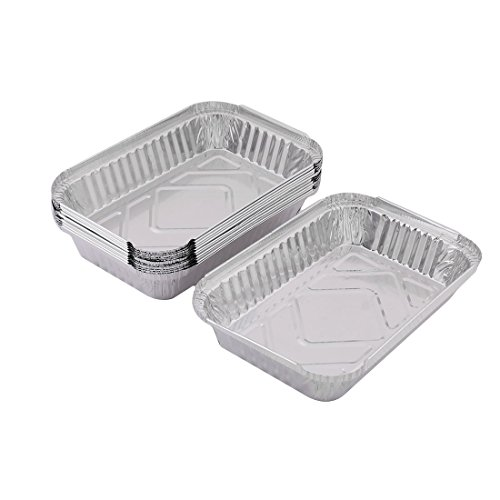 uxcellAluminum Foil Family Outdoor Disposable Food Container 650ml 12pcs Silver Tone