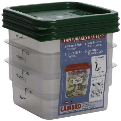 Cambro Set of 3 Square Food Storage Containers with Lids 2 Quart