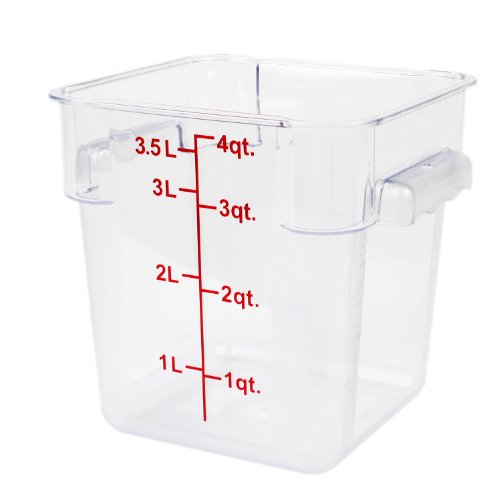 Excellante 849851007482 Polycarbonate Square Food Storage Containers 4 quart Clear