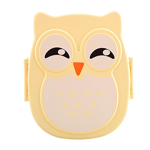 Portable Owl Lunch Box Food Container Storage Box Compartments with Spoon
