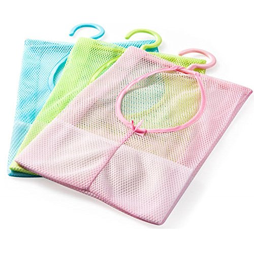 Generic Multipurpose Clothespin Bag with Hanger Hanging Storage Mesh Bag for Home Over The Door Pack of 3 Blue Pink Green