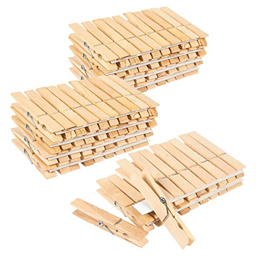 100 Pack - Wooden Clothespins - Large Clothes Pegs for Laundry Arts Crafts Decoration 4 x 5 x 5 Inches