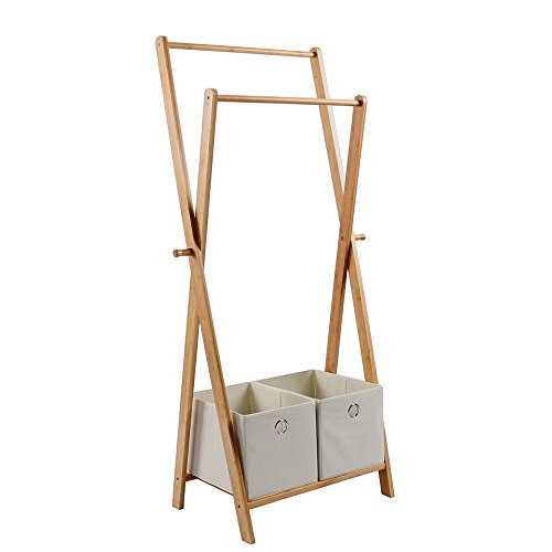 Natural Bamboo Garment RackPortable Clothes Hanger Organizer Multifuctional Clothes Storage Rack with 2 Flapless Storage Box
