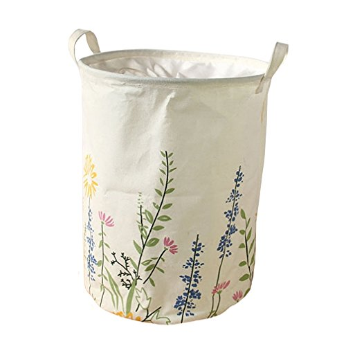 """SYROVIAâ""""¢ Collapsible Laundry Basket Hamper Waterproof Coating Cylindrical Storage Basket with Drawstring Closure and Handles For Bedroom Nursery Dorm Closet"""