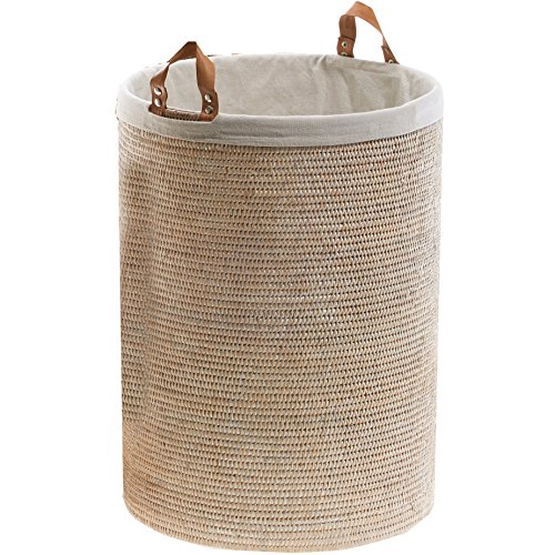 DWBA Malacca Single Round Spa Hamper Laundry Basket with Handles - Rattan Light Rattan