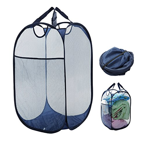 Collapsible Laundry Basket Clothes Hamper Mesh Pop Up Laundry Hamper with Durable Handles Large Side Pocket 256 Inch High