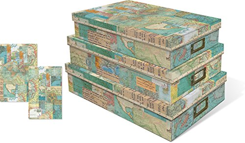 Punch Studio World Atlas Set of 3 Nesting Document Storage Boxes