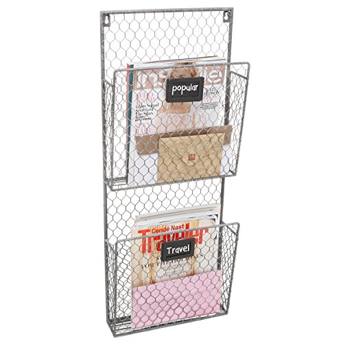 Country Rustic Gray 2 Tier Wall Storage Baskets  Magazine Rack  File Organizer w Chalkboard Labels