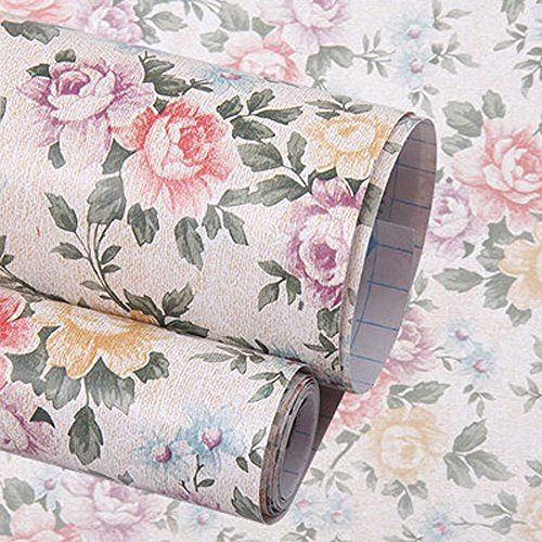 yazi Self-Adhesive Shelf Liner Drawer Contact Paper17x78 InchesVintage Peony