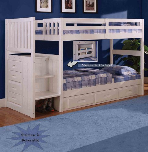 Discovery World Furniture White Staircase Bunk Bed TwinTwin Stair Stepper with 3-Drawer Storage