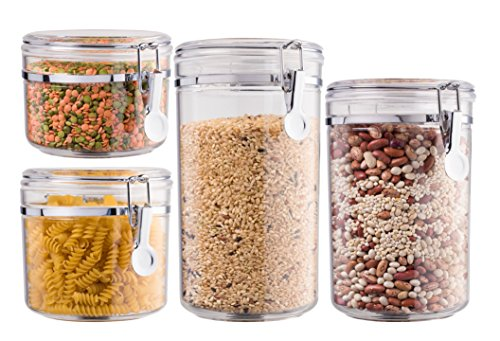 Bellemain 4 Piece Airtight Acrylic Canister Set  Food Storage Container