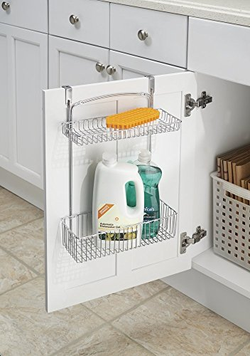mDesign Over the Cabinet Kitchen Storage Organizer Basket for Aluminum Foil Sponges Cleaning Supplies - 2-Tier Chrome
