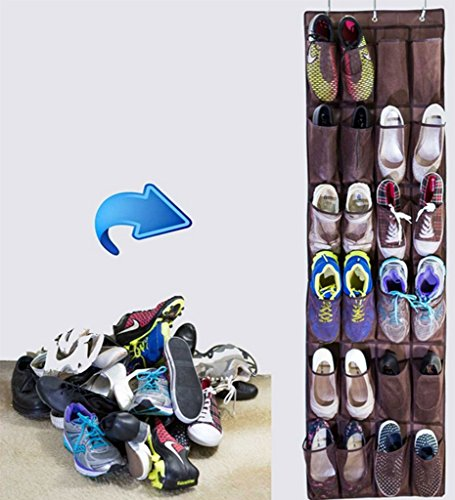 DODOING Home House Over the Door Shoe Organizer Mesh Rack Hanging Shoe Holder for Closet Shoes Storage with 24 Pockets