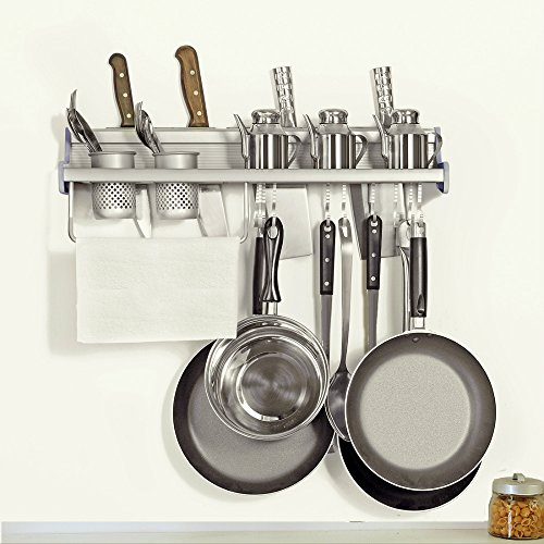 Pot Pan Rack Plumeet Multifunctional Wall Hang Kitchen Rack with Shelves Spice Rack Kitchen Storage Shelf Various Hanger Hooks Pot Organizers for Kitchen Organization