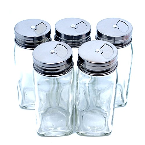 5PCS Spice Container Shaker Salt and Pepper Shakers Kitchen Terya Spice Storage Jars Silver