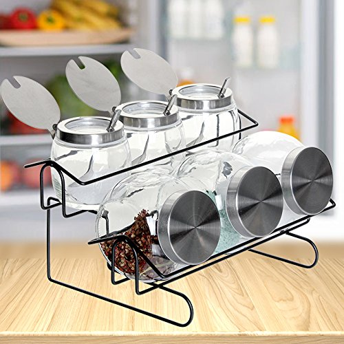 ASIBG Home Glass Spice jar set canister Spice jar with tablespoons of glass sealed cans