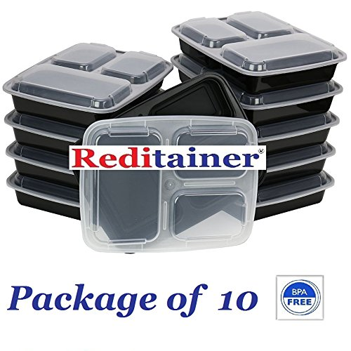 Reditainer 3-Compartment Microwave Safe Food Container with LidDivided PlateLunch Tray with Cover Black 10-Pack