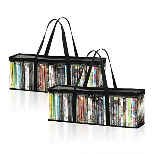 DVD Storage Bags Set of 2 by Mivi  Transparent DVD Blu-Ray Storage Cases With Strong Handles – Large Capacity Portable DVD Holders – Great DVD Storage Solution For Your Movie Music Collection